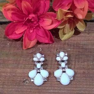 GP White Resin Teardrop and Rhinestone Earrings